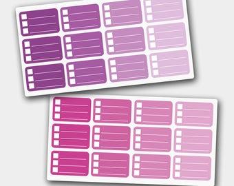 Check Box Stickers, Bottom Box Stickers, Ombre Stickers in Berries Colors, Erin Condren, Filofax, Planner Stickers
