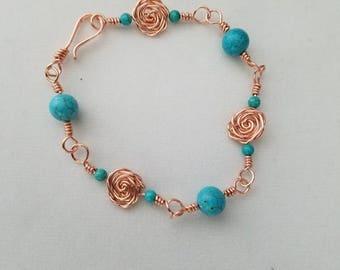 Wire Wrapped Bracelet, Magnesite Bracelet, Wire Wrapped Jewelry, Magnesite, Magnesite Jewelry, Copper Wire Wrap, Bracelet, Beaded Bracelet