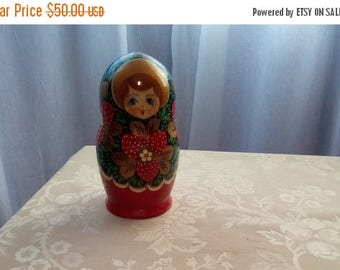 ON SALE Russian Nesting dolls, Set Of Five Hand Painted Nesting Dolls, Russian Matryoshka Doll