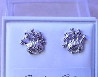 One Pair of BAGPIPE  STUD earrings in Sterling Silver