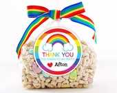 Personalized Stickers, Rainbow Thank You Stickers, Rainbow Birthday Circle Stickers, Rainbow Party Favor, Rainbow Circle Stickers