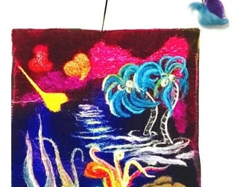 ON SALEcij 20% off Velvet Tapestry or Painting, Needle Felted Art.