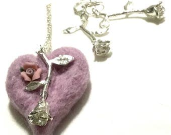 Dusty Pink Valentine Heart, Pendant and Earring Set, Silver Rose Earrings and Pendant, Designer Pendant and Earrings, Valentine Gift