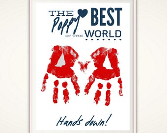 Gifts for Poppy - Poppy Gifts, Grandpa, Grandfather, PRINTABLE Handprint Art, Gifts From Grandkids, From Kids, Birthday Gifts, DIGITAL DIY