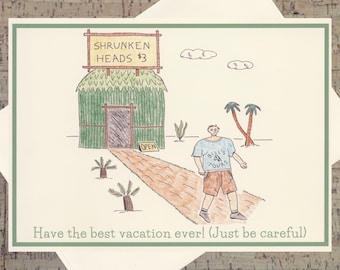 Vacation Card, Funny Greeting Card, Humor Card, Quirky Card, Handmade All Occasion Card, Handmade Greeting Card, Cartoon Card