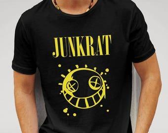 Mens Designer Overwatch Vs Nirvana Junkrat Parody - Printed Cotton Black T-Shirt