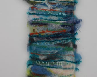 Dreaming of the Scilly Isles unique needle felted picture. Felted landscape.  Felted collage. Hand embroidery.