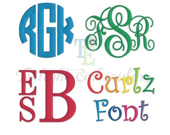 Embroidery Fonts Pack, Embroidery Monogram Fonts, Embroidery Circle Monogram, Embroidery Vine Monogram, Embroidery Stacked Monogram 0011