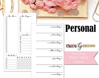 PRINTABLE INSERTS: Week on Two Pages (Unlined)/Personal