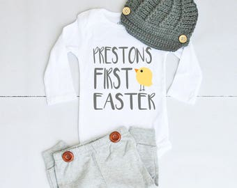 Baby's First Easter Outfit - Personalized Newborn Baby Gifts - Boy 1st Easter - Cute Baby Boy Clothes - My First Easter Outfit Baby Boy