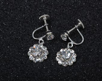 Lovely Flower Drop Vintage Earrings, Clear Rhinestone, Silver Tone, Screw Back Clip On, Bridal, Evening, Jewelry ~ Boom Thang ~ 170104