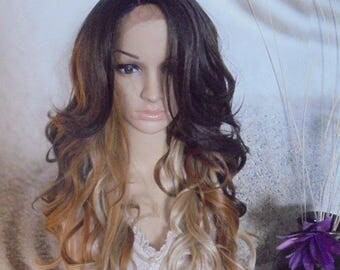 Ombre Mixed Dark Roots Brown Blonde Lace Front heat resistant Synthetic wig 24''