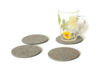 Round Coasters Made Of Merino Wooll Felt. Natural Gray Coasters. Set Of 4 Drink Coasters. Mothers Day Gift. Gift For Mom. Party Decoration