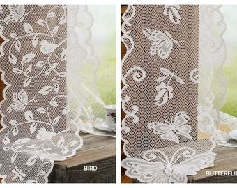 """Shabby Scalloped edged Lace Table Runner 13"""" x 96"""" Choose Bird or Butterflies"""