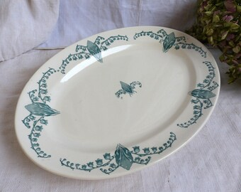 Antique french green transferware oval serving platter. Medium oval platter. Art Nouveau. Lily of the Valley. Emerald green. Cottage decor.