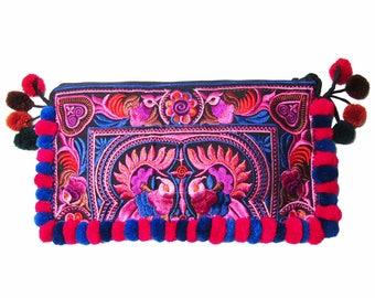 Colorful Boho Red Floral Embroidery Pom Pom Clutch Bag
