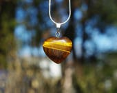 Tiger Eye Stone Heart Pendant on a Sterling Silver Chain ~ Brown Stone Necklace ~ Golden Stone ~ Meditation Stone ~ Anniversary Gift