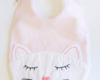Large bib with hand embroidered Kitty