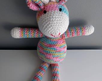 Sid the Giraffe - Sparkly Rainbow Stripy