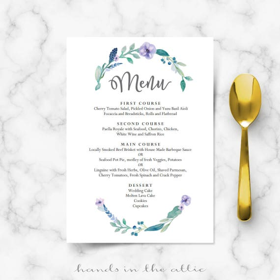 Floral Wedding Menu Template Printable Menu Template Diy Wedding