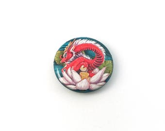 Glossy Lotus Dragon Button Pin Plastic Coated