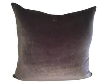 Gray Velvet Pillow,  Gray Pillow, Medium Gray Throw Pillow, Velvet Sofa Pillow, 16 inches, 18 Inches, 20 inches