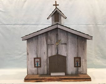 Barn Wood Clock Country Church