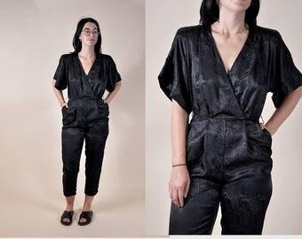 80's Silk Black Jumpsuit Satin Bodysuit Modern Minimal XS/S