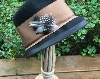 Black & white Wild Turkey,Guinea Hen and Rooster Hackle small decorative Classic hat pin w/suede, made in USA