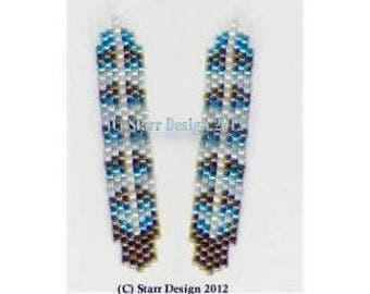 Blue Jay Feather 2 - Brick Stitch Beaded Charm or Earrings Pattern