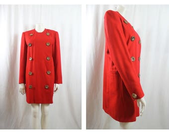 Bold Lipstick Red Wool double breasted Jacket