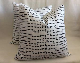 Pair of Modern Designer Pillow Covers - Dot Matrix Print - 2pc Set -  18x18 Covers