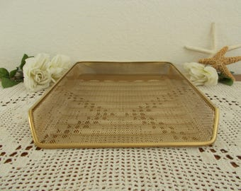 Gold Metal Wire Desk Tray Paper Organizer Industrial Office Table Storage Hollywood Regency High Fashion Paris Office Glamorous Home Decor