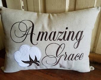 Amazing Grace Pillow, Cotton Boll Pillow, Cotton Boll Decor, Religious Decor, Southern Home Decor, Religious Pillow, Gift Ideas, Hymn Decor