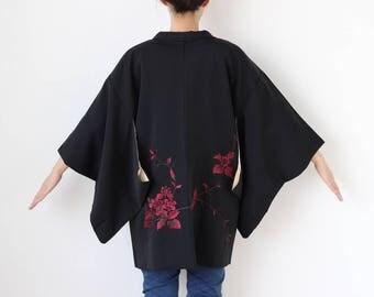 black embroidered kimono jacket, Haori, kimono, black jacket, black and red jacket, kimono haori, ladies jacket, gift for her /1996