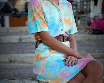 Vintage shirt dress//vintage dress//pastel dress//collar