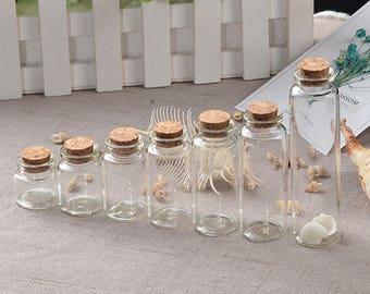 50pcs 10ml 15ml 20ml 25ml 30ml 40ml 55ml Glass Bottles with Cork Empty Bottles Jars Containers Vial Crafts Bottles Jars