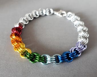 NEW! Rainbow Chakra: Aluminum chainmaille bracelet in Rainbow or Chakra Colors