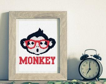 Monkey cross stitch pattern,Kids cross stitch pattern,PDF download #26