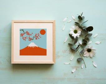 Mount Fuji Cross stitch pattern, Japanese Landscape, Instant download #46