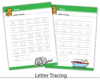 Letter Tracing,Handwriting Learning,Preschool, Learning to Write,Homeschool,Worksheet Activities,Printable PDF #WS006