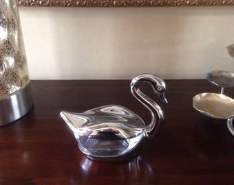 Swan Condiment Dish Silver Plate and Glass