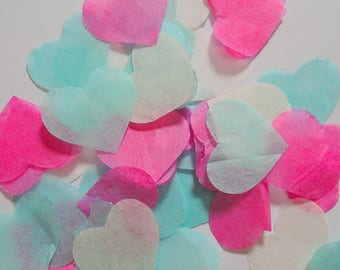Blue pink ivory heart confetti - stain not - 25 handles (handmade)