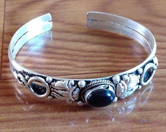 Dark Black Onyx Cuff Bracelet
