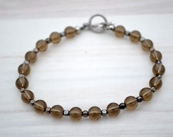 Genuine smoky quartz bracelet, Smoky quartz bracelet, Quartz bracelet, Beaded smoky quartz bracelet, Smoky quartz jewelry, Smoky quartz gift