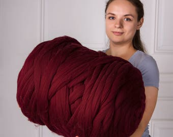 4 lbs/2 kg Chunky yarn. Super bulky yarn. Merino wool yarn. Chunky knit. Jumbo wool. Giant wool. Pure fibre. Combed top. Wool roving. Bulky