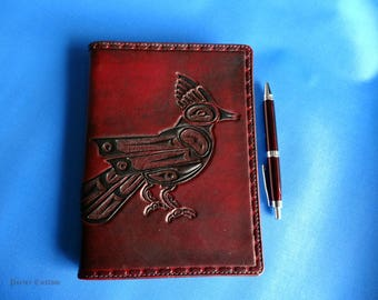 Leather Journal Cover - Jay bird