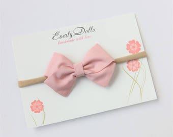 Bow headband, baby bow headband, nylon headband, cotton bow, fabric bow, sailor bow, pastel bow, blush bow, cotton bow, bow hair clip