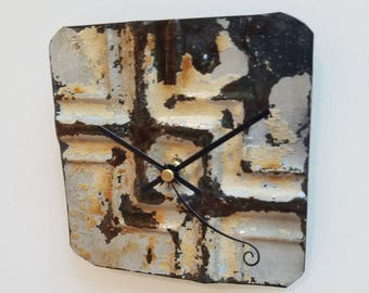 Right angles -Salvaged  ceiling tin tile clock unique wall decor