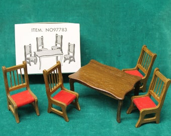 vintage new in box chadwick dollhouse table u0026 chairs circa 1980s wooden dining room table four